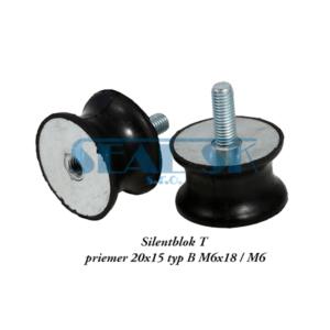 Silentblok T priemer 20x15 typ B M6x18 . M6