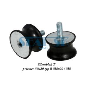 Silentblok T priemer 30x20 typ B M8x20 M8