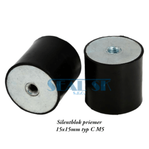 Silentblok priemer 15x15mm typ C M5