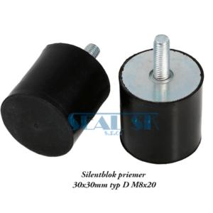 Silentblok priemer 30x30mm typ D M8x20