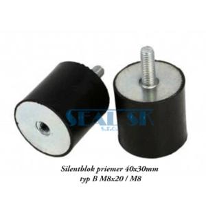 Silentblok priemer 40x30mm typ B M8x20 M8