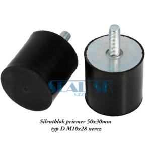 Silentblok priemer 50x30mm typ D M10x28 nerez2