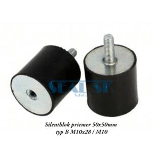 Silentblok priemer 50x50mm typ B M10x28 M10