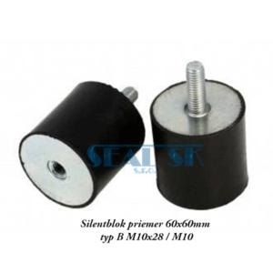 Silentblok priemer 60x60mm typ B M10x28 M10