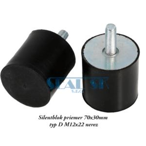 Silentblok priemer 70x30mm typ D M12x22 nerez